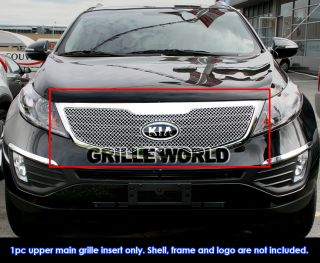 Fits 2011 2012 Kia Sportage Stainless Steel Chrome x Mesh Grille Grill