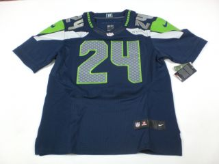 New Marshawn Lynch 24 Seattle Seahawks 2012 NFL Jersey Blue Sz 52 2XL