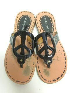 Kid Express Black Patent Leather Peace Sign Sandals 31