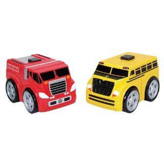 Kid Galaxy Ratchet Racers Fire Truck School Bus Set
