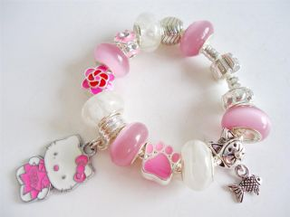 Kids Children European Style Charm Bracelet Pendant Hello Kitty Pink