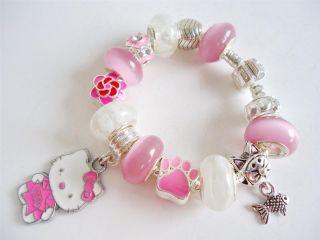 Kids Children European Style Charm Bracelet Pendant Hello Kitty Pink