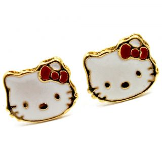 Gold 18K GF Girl Baby Kids Hello Kitty Earrings Push Back Stud Red