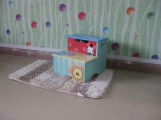 Bright Color Boy Animal Step Stool Storage Box Kids Furniture