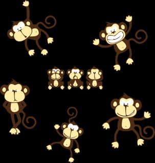 Cute Monkeys New Mural Jungle Animal Stickers for Kids Room