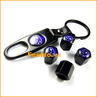4pcs Subaru Logo Car Tire Valve Stem Caps Keychain( 1849)