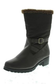 Khombu New Mardi Gras Brown Faux Fur Belted Mid Calf Snow Boots Shoes