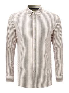 Howick Mercer stripe long sleeve shirt Wine