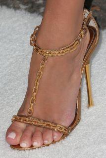 Dress SHOES 38.5 8.5 Heels Gold Chain Strap Kim Kardashian NWT Classic