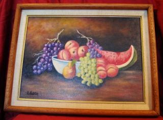 Original Oil Painting Art Still Life Fruit