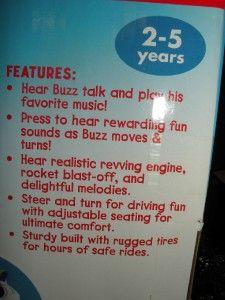 HTF NIB Kiddieland Buzz Lightyear Space Trike tricycle Toy Story 3/ 3