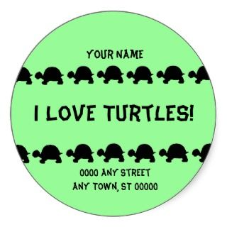 Love Turtles Name and address labels larger size Sticker