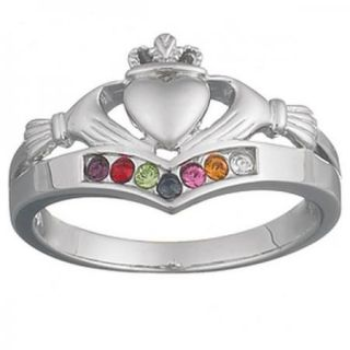 Sterling Silver Family Birthstone Claddagh Ring Silver or Gold