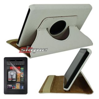 Leather White Case Screen Protector for  Kindle Fire 1 2