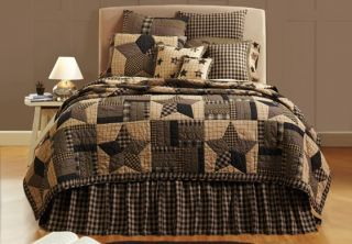 Rustic Primitive 4pc Queen Cal King Quilt Shams Pillow Bed Set