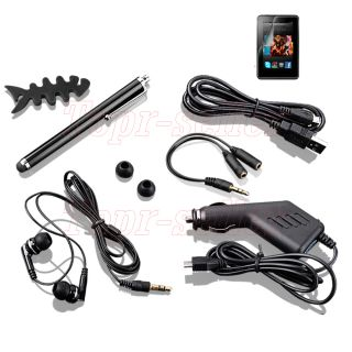 PU Leather Case+Car Charger+Stylus+SP For  Kindle Fire HD 7