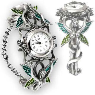 Alchemy Fairie Spirit Adjustable Chain Bracelet Green Enameled Wings