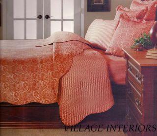 Terra Cotta Rust Paisley Oversize King Quilt Set