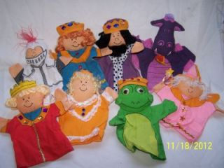 8PC Lot Childs Hand Puppets Puppet Renaissance King Queen Knight Fairy