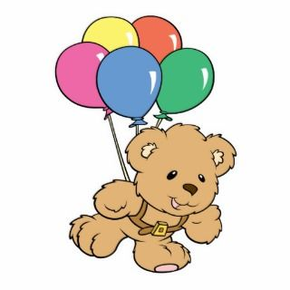 Birthday Balloon Bunch Teddy Bear Acrylic Cut Outs