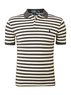 Polo Ralph Lauren Slim fitted twin striped polo shirt Grey