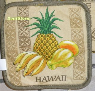 Hawaii Kitchen Towel Oven Mitt Fruit Pineapple Board
