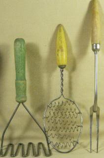Vintage Wooden Handle Cooking Utensils Fork Spoon Potato Masher