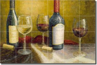 Ching Wine Art Kitchen Ceramic Tile Mural Backsplash