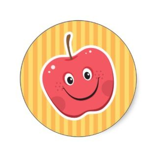 Red apple cartoon character stickers
