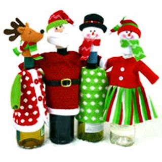 Christmas Holiday Wine Bottle Covers Party Gift Set of Four