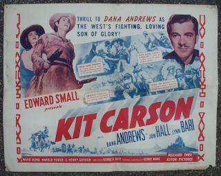 Kit Carson Half Sheet Movie Poster 1940 Dana Andrews Jon Hall Lynn
