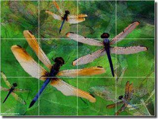 Dragonfly Art Kitchen Ceramic Tile Mural Backsplash 24x18 OB MB25