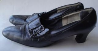 Sweet Vintage Black Leather Mod Pilgrim Shoes Red Cross 9