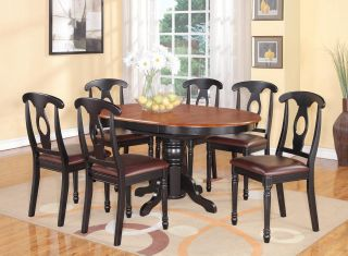 PC Oval Dinette Kitchen Dining Set Table w 6 Leather Chairs in Black