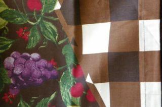 Homes Garden Checks Fruit Kitchen Tiers Valance Set NIP $32