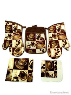 Coffee Kitchen 5 PC Linen Towel Set Towels Oven Mitt and Pot Holder