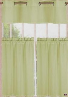 Sage Green Kitchen Curtains Grommet Valance Pocket Rod Tierss