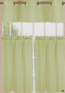 Sage Green Kitchen Curtains Grommet Valance Pocket Rod Tierss