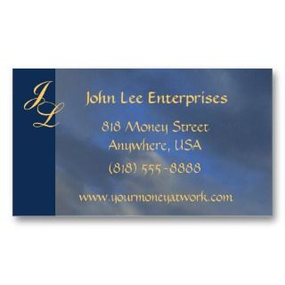 Gold Monogram Blue Sky Elegant Business Card