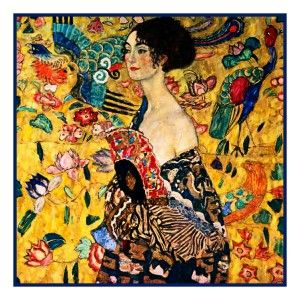 Art Nouveau Gustav Klimt Lady with Fan Counted Cross Stitch Chart Free