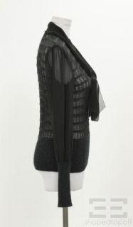 Burch Black Metallic Open Knit Silk Tie Neck Sweater Size XS