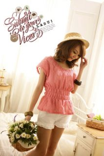 Women Kimono Sleeve Openwork Knit Top Tunic T Shirt