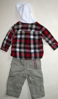 Koala Kids 18M Boys Paw Print Flannel Hooded Shirt Tan Cargo Pants 18