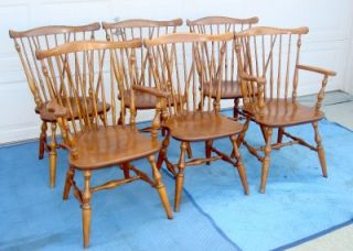 Ethan Allen 6 Maple Wood Windsor Back Chairs