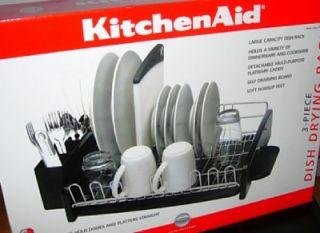 KitchenAid 3 Piece Dish Drying Rack Black New