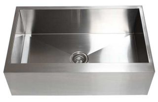 33 Farm Apron Kitchen Stainless Steel Sink Flat Front Zero Radius