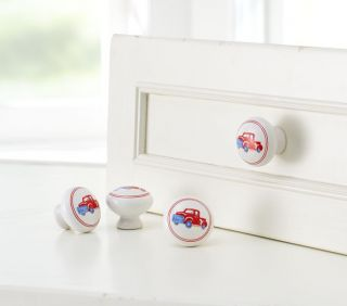 Set 2 Pottery Barn Kids Cermic Knobs Drawer Pulls Firetruck Pick Up