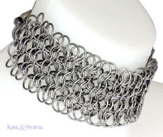 Extra Wide Steel Chain Mail Collar Choker by Sinpatiko Goth Punk Emo