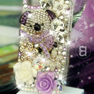 Luxury Bling Crystal Charms Pearl Koala Bear iPhone 4 4S Case Cover