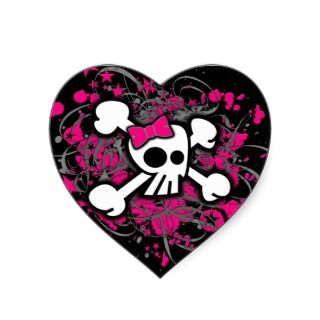 Girly Skull & Crossbones Sticker